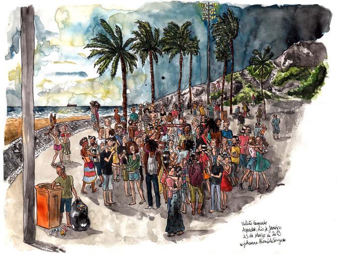 Portuguese in action, on a beach party in Rio. Illustration copyright Johanna Thomé de Souza (her Facebook).