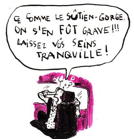 A little alcohol improves foreign language pronunciation; too much leads to sloppiness. This was one of my less-than-perfectly-executed diatribes in French (against the discomfort of bras), as captured by resident TP illustrator Johanna Thomé de Souza.